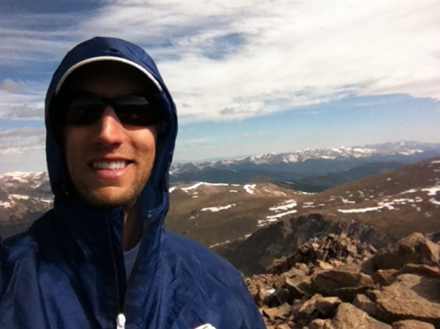 Mt. Bierstadt summit, 14,065'.  Rocky steep fun.